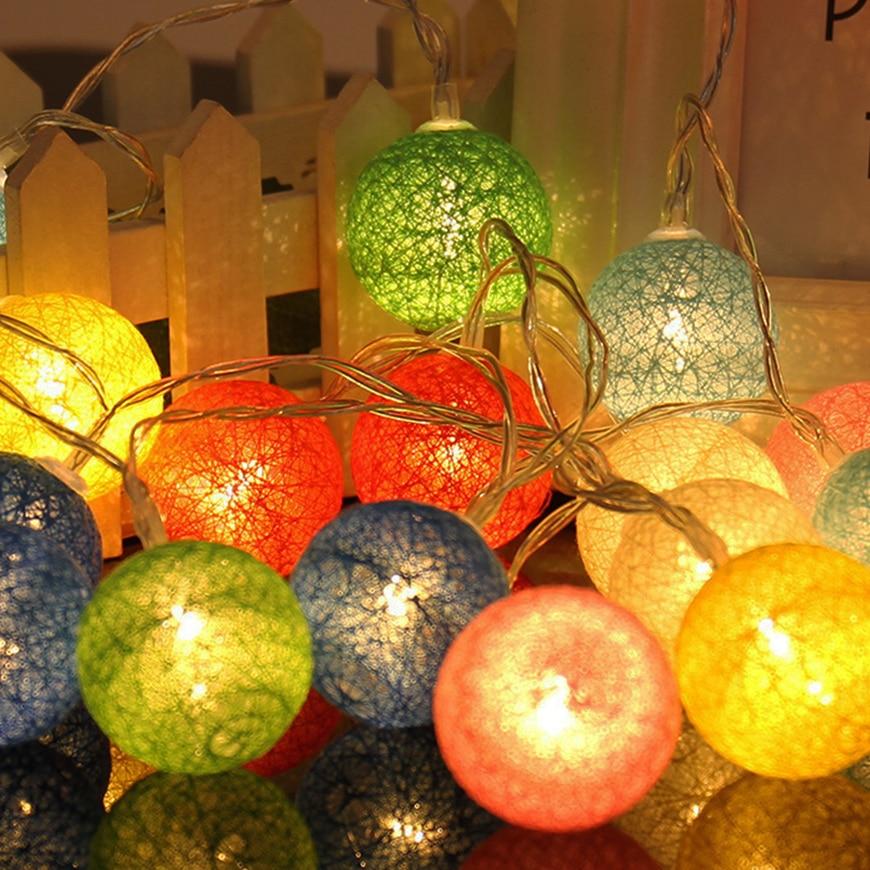 10 / 20Leds luces de vacaciones de algodón bola de luz guirnalda de - Iluminación de vacaciones - foto 3