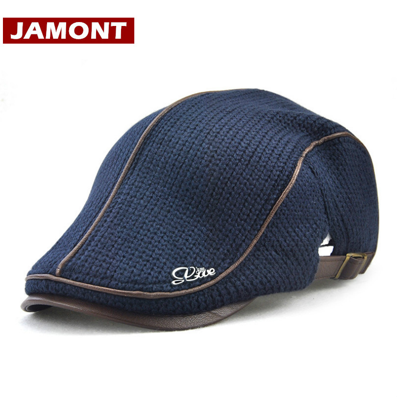 JAMONT 2018 Winter Men s Brand Knitted Beret Casquette Homme Leather Flat  Cap Male Boina b903cb4c08d4