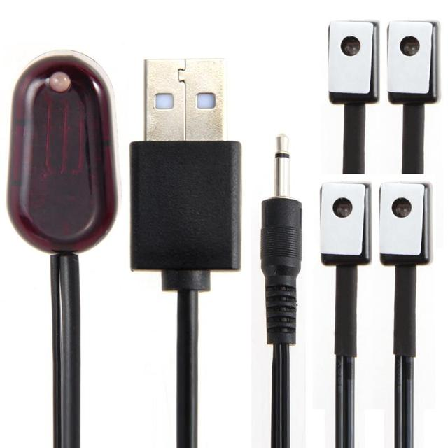 UK Plug IR Extender 1 Receiver 4 Emitter Emitters Repeater System Kit Infrared Remote USB Adapter Transmit Control Signal