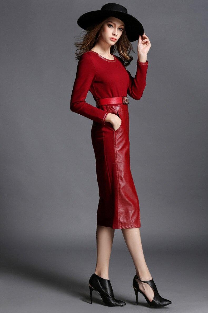 FEIBUSSHI Vintage Leder Kleid Rot Langarm Kleid Frauen 2017 Herbst ...
