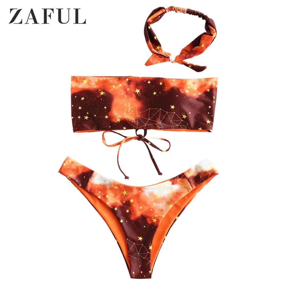 ZAFUL marmuru Choker stroje kąpielowe Bikini Set kobiety wysokie nogi strój kąpielowy marmurowy druk Choker Sexy Spaghetti pasy Bandeau Bikini