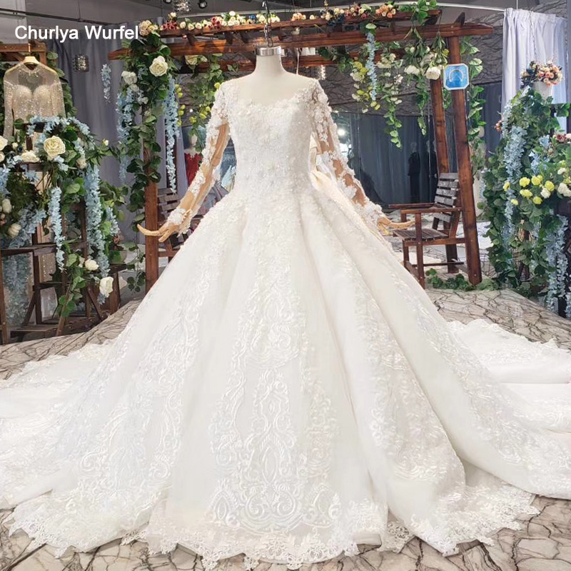 HTL600 2019 Like White Wedding Dresses With Appliques O-neck Illusion Long Sleeve Wedding Gowns With Train Vesrido De Noiva 2019