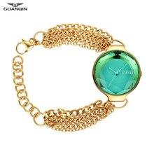 New GUANQIN Watch Women Bracelet Watch Green Sapphire Ladies