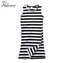 PUDCOCO Brand Cotton Fashion Kids Baby Girl Boho Stripe Dress Sundress Long Maxi Skirt Summer Clothes(China)