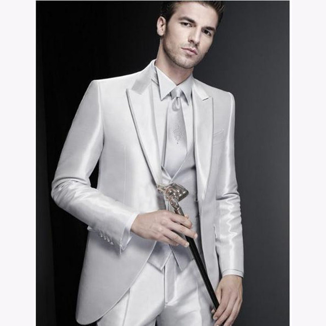 Silver Grooms Tuxedos Peaked Lapel Wedding Suits Three Piece For ...