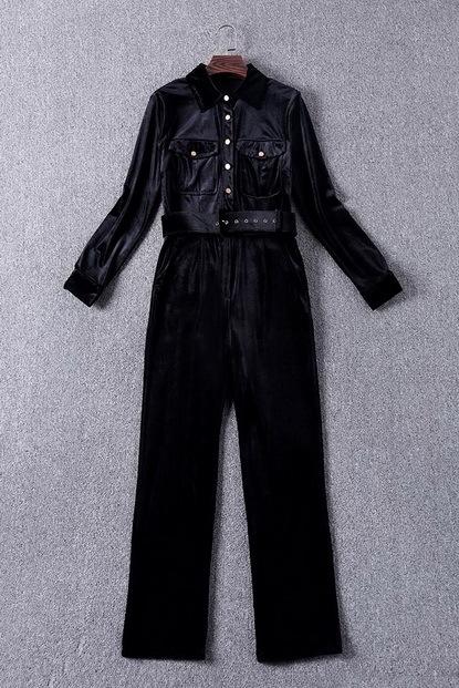Best Quality New Fashion Jumpsuit Women Turn-down Collar Golden Button Solid Velour Long Sleeve Elegant Jumpsuit