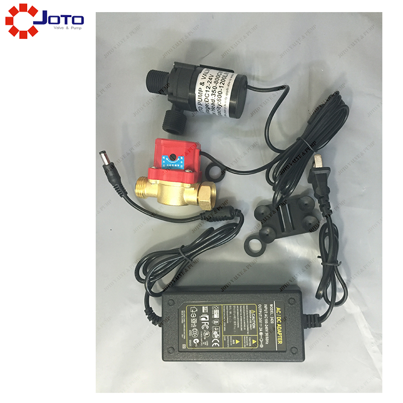 12v24 Brushless Self priming Pressurized Water Heater Booster Pump with Flow switch and power supply