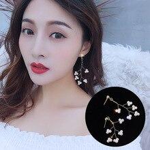 2019 Summer New Long Earrings Women Hand-woven Pearl Mori Branch Ear Jewelry Simple