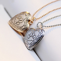 2016 New Vintage Animal Dog Paw Photo Frames Locket Necklaces Gold Sliver Plated Heart Open Pendants