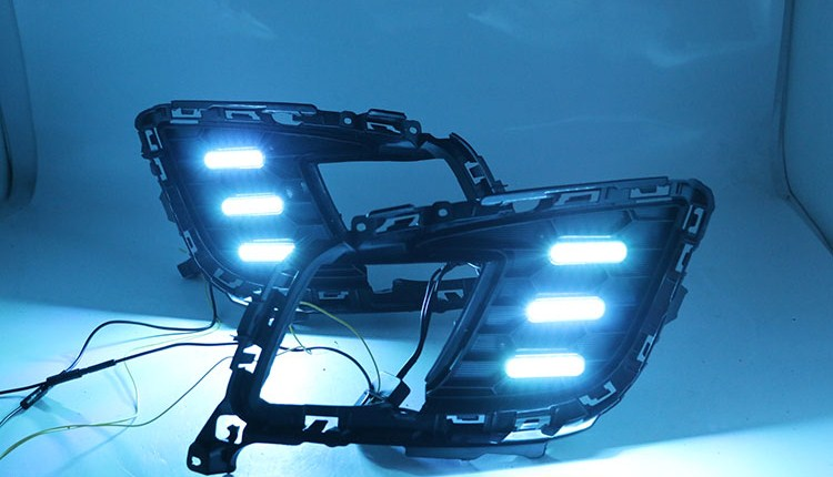 Qirun led drl daytime running light for <font><b>Mazda</b></font> <font><b>6</b></font> <font><b>2010</b></font> with Dynamic moving yellow turn signal and blue night running light image