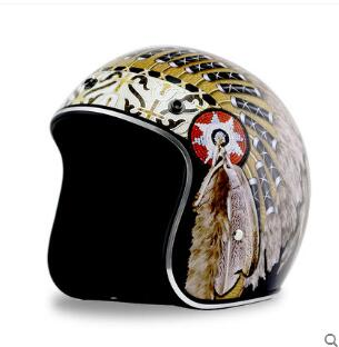 New Synthetic Motorcycle Helmet Retro Vintage Cruiser Chopper Scooter Cafe Racer Moto Helmet 3/4 Open Face Helmet DOT ...