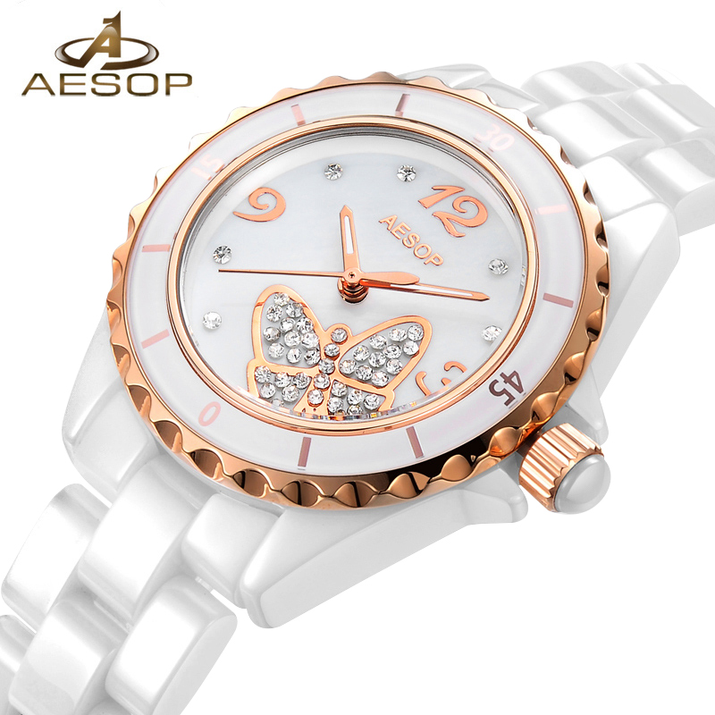 AESOP Fashion Women Watch Gold White Ceramic Quartz Wrist Wristwatch Bracelet Strap Ladies Clock Relogio Feminino Montre Femme цены
