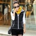 Nuevo otoño y el invierno 2016 mujeres de la manera chaleco con capucha gruesa de algodón chaleco chaleco femenino abajo concede la chaqueta