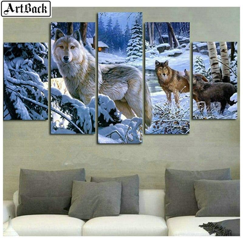 5d diamant peinture loup neige scène plein carré perceuse nouveauté 3d diamant broderie mosaïque salon décoration hiver