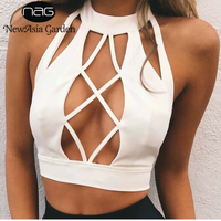 NewAsia Garden Sexy Backless Camisole Lace Up Halter Tank Top Camis Cropped Beach Party Tops Women