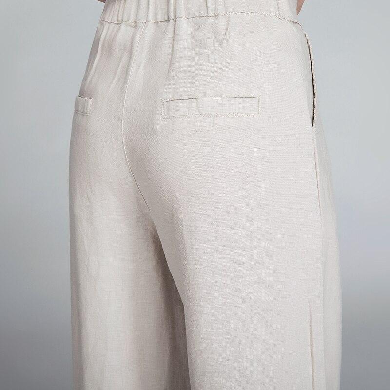 Et Coton Casual Décontractés Neuf blanc 2018 Femmes Été Pantalon Lâche De Porter Lin Pantalon rose kaki Beige noir Large Mince Vêtements Jambe Pantalon z8Yxa8