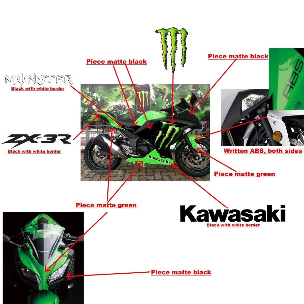 Matte green black Ninja 250r 300 Fairings BodyWork Kit For KAWASAKI NINJA250-300 NINJA 250 300 2013-2015 +4 Gift