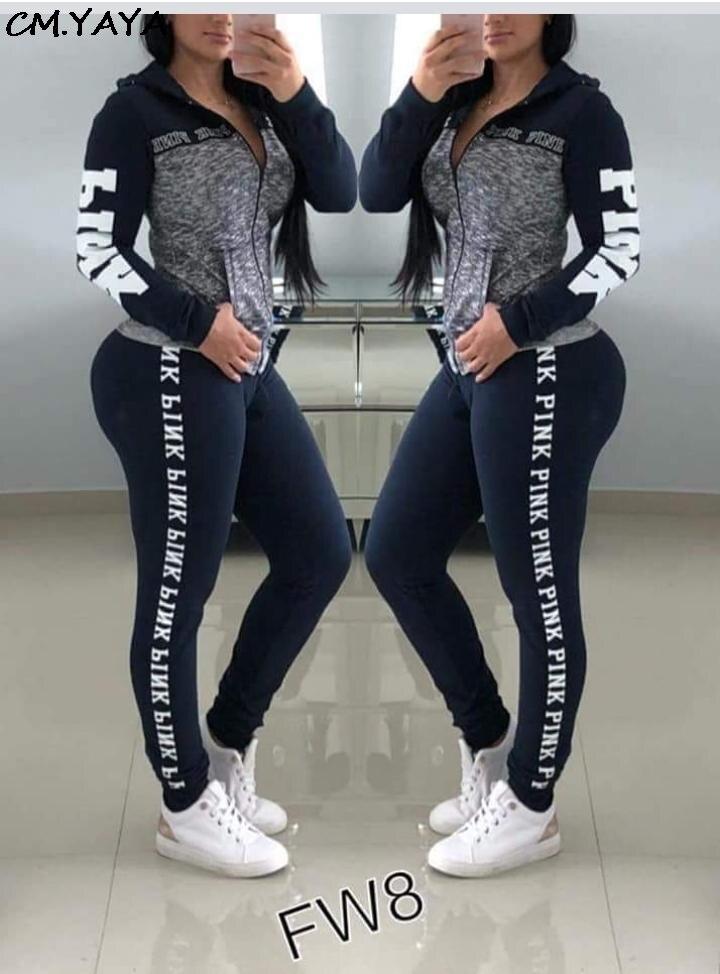 Conjunto de duas peças jaquetas estampadas femininas, moda outono, manga comprida, estampa de letras, + calça longa, esportiva a9084