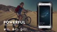 For Huawei p7 P9 plus Original Love Mei brand Powerful Aluminum Case Cover Dirt Shockproof Life Waterproof Case+Tempered Glass