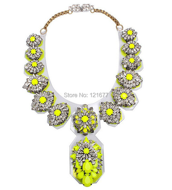 Vintage Crystal Pendant Necklace For Women 2014 Flower Shape Crystal Shourouk Jewelry Accessories Statement Necklace N0039