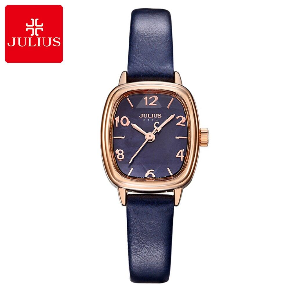 Women's Simple Digital Genuine Leather Strap Wrist Watch Women Pretty Fashion Casual Quartz Good Quality Watches Julius 885 Gift