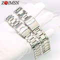 ZLIMSN Watch Strap Sliver Mens Watchbands Pure Solid Stainless Steel Buckle 3 LINKS Watch Band Bracelets 18mm 20mm 22mm Relogio