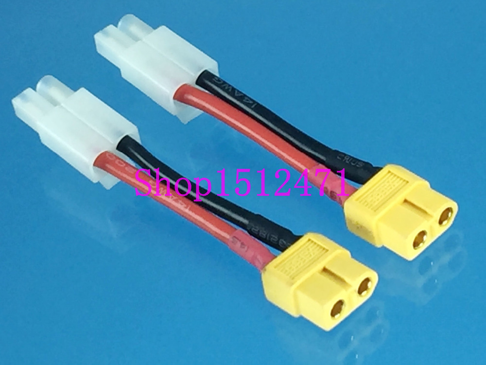 2pcs Female XT60 XT-60 Connector To Male Big TAMIYA 14AWG Wire Adapter For RC
