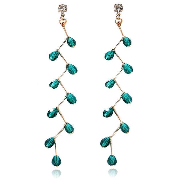 ceb19f5fce EK821 Korea Temperament Crystal Tassel Bead Cross Earring Green Rhinestone  Drop Earring For Girls Party Personality Long Earring