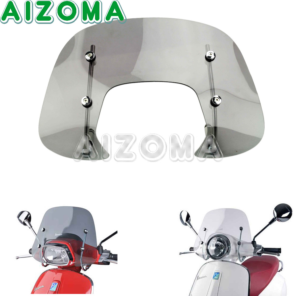 a07f4432 Smoke Motorcycle 4mm Thick Methacrylate Windshield WindScreen Protector  With Fitting Kit For Vespa SPRINT 150cc FLYSCREEN