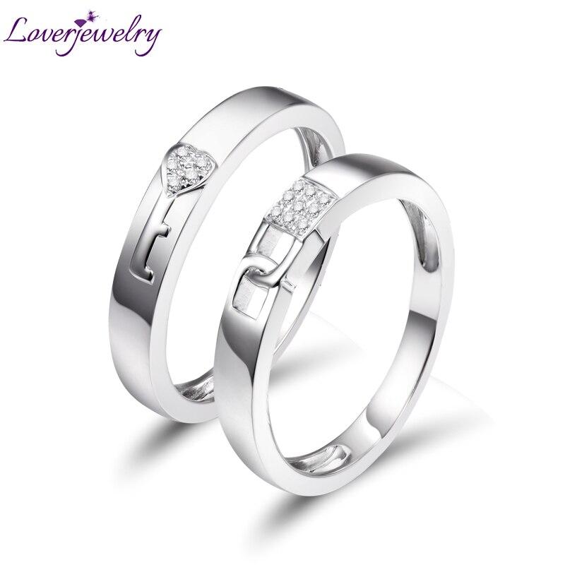 Loverjewelry, хит продаж, обручальные кольца для пар, замок и ключ, любовь, одноцветное, 18 К, белое золото, бриллиант, обручальное, юбилейное кольцо