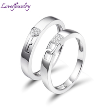 Loverjewelry Hot Sale Couples Wedding Bands Rings Lock And Key Love Solid 18K White Gold Diamond Engagement Anniversary Ring cheap Fine WU141 Cute Romantic 0 062Ct GB T16552 lovers Very Good NGSTC Pave Setting Round Shape None Guangzhou China 100 Natural