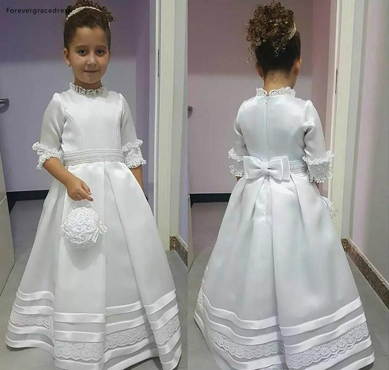 White Lovely Cute   Flower     Girls     Dresses   Princess A Line High Neck Daughter Toddler Pretty Kids Formal First Holy Communion Gowns