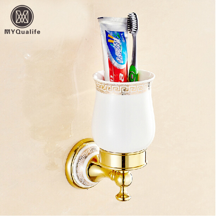 Golden & Ceramic Cup & Tumbler Holders Wall Mount Bathroom Double Toothbrush Cup Holder luxury golden brass three cup holder luxury style golden copper toothbrush double tumbler 3pcs cup holder wall bath cup rack
