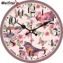 MEISTAR Nature Scenery Wall Clocks Flower Magpie Design Fashion Silent Living Study Office Room Decorative Art 2018