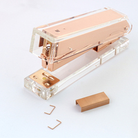 TUTU Rose Gold Stapler Acrylic Edition Metal Manual Staplers 24 6 26 6 Include 100 Pcstaples
