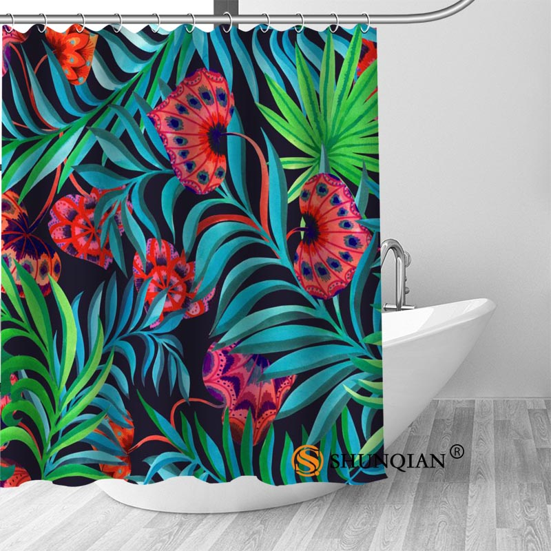 Hot Custom Art Flower Pattern Shower Curtains Polyester Bathroom Curtains With Hook Bath Curtain Bathroom Decor