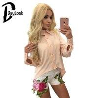 DayLook Sonbahar Kadın Ciffon Gömlek Zarif Gevşek Bluz Chic Geri Fermuar Tops Asimetrik Vintage Uzun Kollu Gömlek Blusa