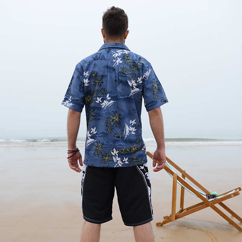 dca67fb86ff 2018 Summer Cotton Hawaii Holiday Beach Shirt Men Casual Short Sleeve  Printed Shirt Single Breasted Plus Size Loose Tops D078-in Casual Shirts  from Men s ...