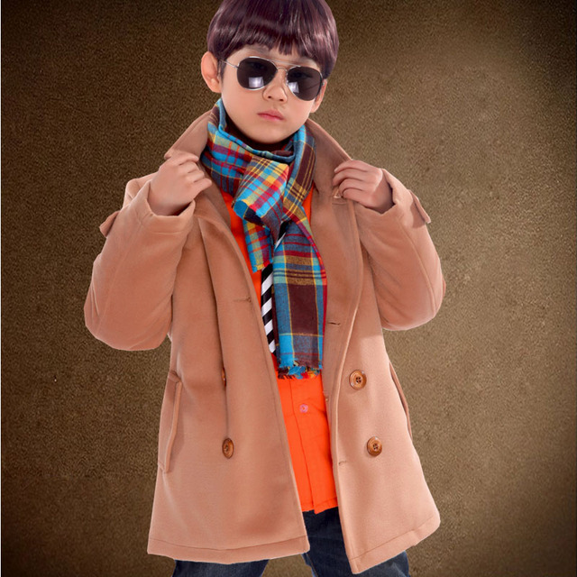2017 children's clothing male child cashmere overcoat winter child thickening clip child cotton-padded coat wool coat wool