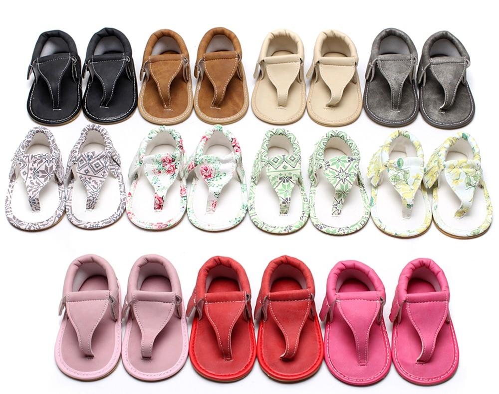 Hongteya Sommer-spædbarn Flip Flops Blomster sandaler Hot sale Pu læder Baby moccasiner sko Gummi sål Baby sandaler til 0-24 M