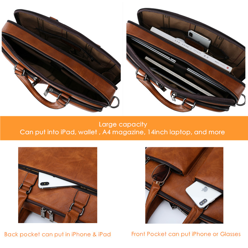 Image 5 - JEEP BULUO Brand Man Briefcase Large Capacity Leather Casual  Shoulder Bag For Men Laptop Business Bags Handbags High end  NewBriefcases