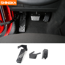 SHINEKA Metal Elevator Car Brake Pedal Pads Foot Rest Pedals Covers for Jeep Wrangler 2007-2017 Styling Interior Accessories