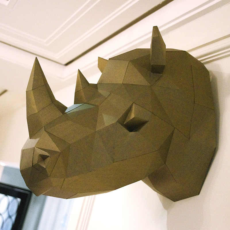3D Paper Model Rhinoceros Rhino Head papercraft animal home decor wall  decoration Puzzles Educational DIY Toys Gift for Children