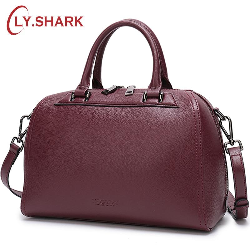 LY 。サメグリーン本物の革のハンドバッグ 2018 クロスボディショルダーバッグメッセンジャー高級ハンドバッグ女性のバッグデザイナー  グループ上の スーツケース & バッグ からの ショッピングバッグ の中 1