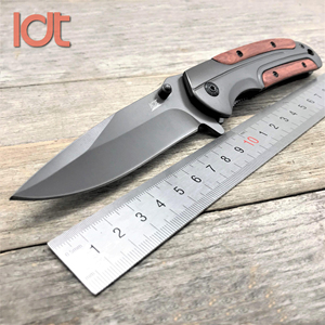 Image 2 - LDT DA51 składany nóż 8Cr14Mov ostrze palisander uchwyt ze stali survivalowe noże kieszonkowe odkryty nóż turystyczny EDC na polowania narzędzia