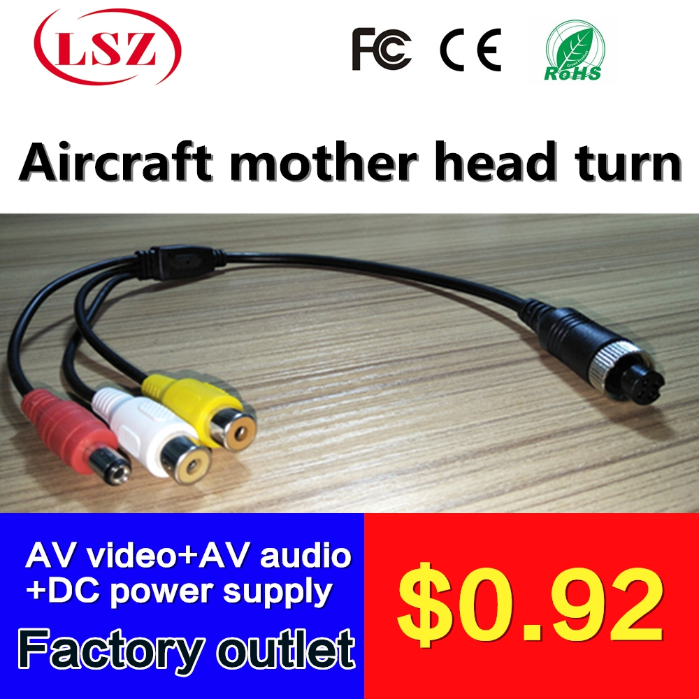 Source Factory Car Monitor Video Cable 4P Aviation Head DC Line Aviation Head To RCA Headline