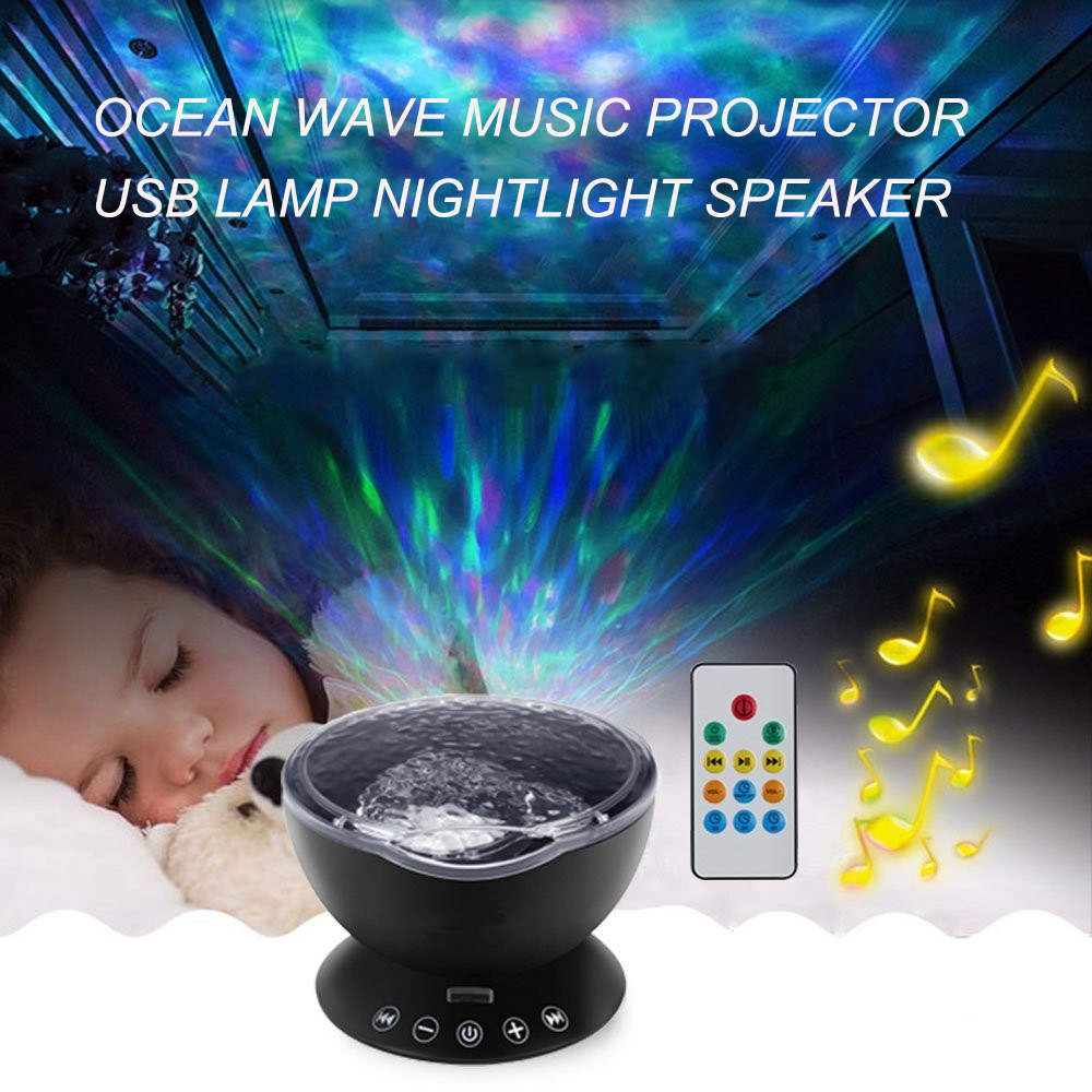 Ocean Wave Music Projector LED Night Light Soothing Novelty Lamp USB Lamp Nightlight Speaker and Remote control for Nursery Room keyshare dual bulb night vision led light kit for remote control drones