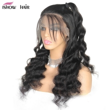 Ishow Loose Deep Wave Wig 4X4 Lace Front Human Hair Wigs Pre Plucked High Density Brazilian Lace Front Wigs For Women Remy Hair