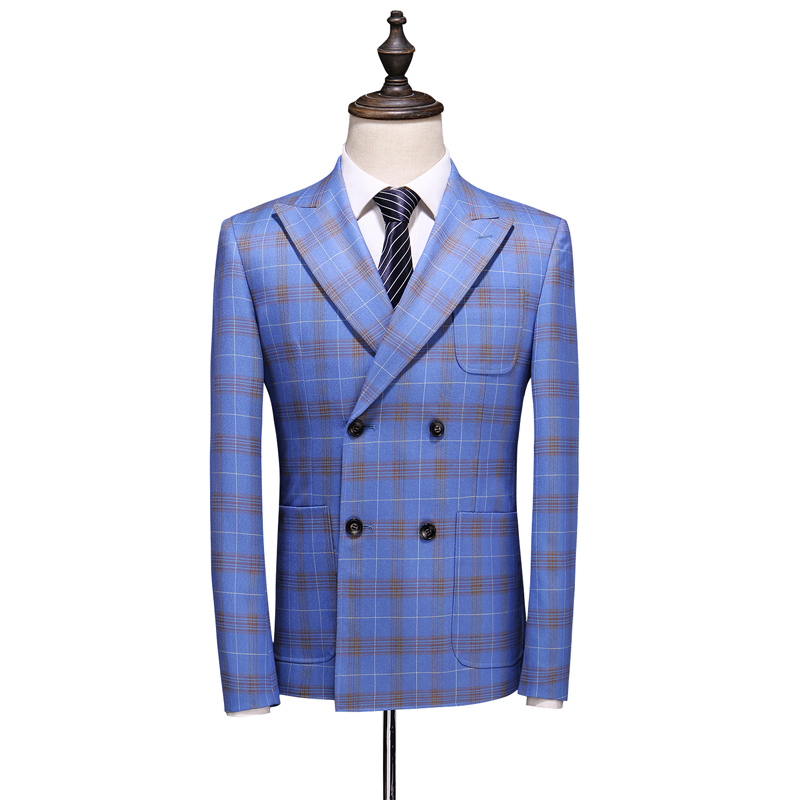 Double Breasted Plaid Suit for Men Light Blue Mens Suits Designers 2019 Terno Slim Fit Masculino Groom Wedding Suit Man - 2