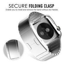 1:1เดิมสแตนเลสเปลี่ยนsmart watchวงสายคล้องข้อมือสร้อยข้อมือกับผีเสื้อตะขอเข็มขัดสำหรับapple watchวง